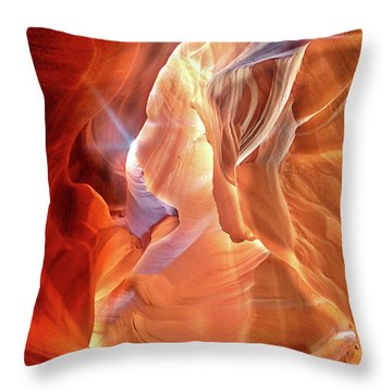 Antelope Canyon Light Throw Pillow by Lorella Schoales