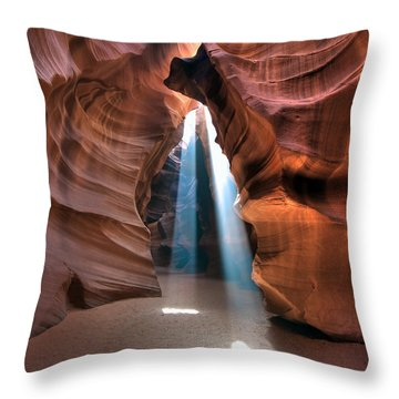 Antelope Canyon Twin Beams Throw Pillow by Martin Konopacki