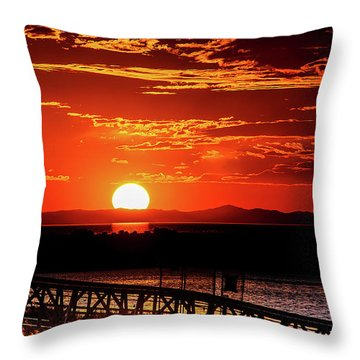 Antelope Island Marina Sunset Throw Pillow