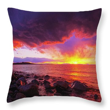 Antelope Island Sunset Throw Pillow