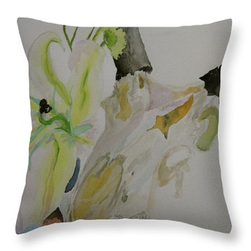 Throw Pillow featuring the painting Antelope Skull Pinecones And Lily by Beverley Harper Tinsley