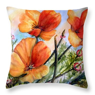 Antelope Valley Poppy Fields Throw Pillow