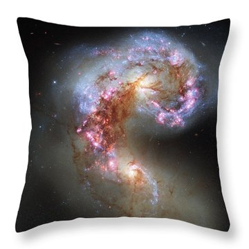 Throw Pillow featuring the photograph Antennae Galaxies Reloaded by Nasa