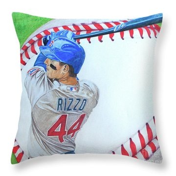 Throw Pillow featuring the drawing Anthony Rizzo 2016 by Melissa Goodrich