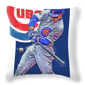 Anthony Rizzo Chicago Cubs Oil Art Throw Pillow