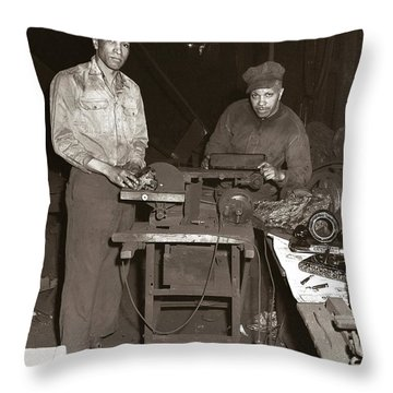 Anthracite Coal Artist  Charles Edgar Patience On Right  1906-1972 In Studio 1953    Throw Pillow
