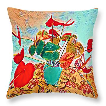 Anthurium Bouquet Of The Day - Multiple Color Throw Pillow