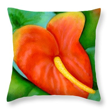 Anthurium Flowers #228 Throw Pillow by Donald k Hall