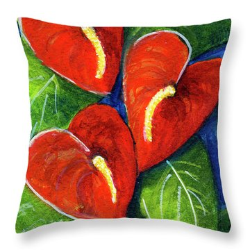 Anthurium Flowers #272 Throw Pillow by Donald k Hall