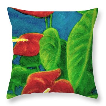 Anthurium Flowers #296 Throw Pillow by Donald k Hall