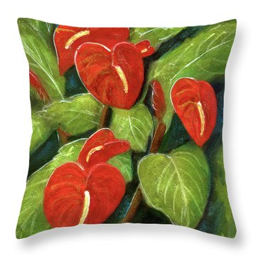 Anthurium Flowers #231 Throw Pillow by Donald k Hall