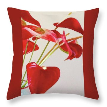 Anthurium Fragments In Red Throw Pillow