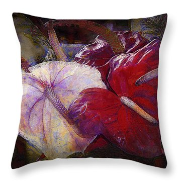 Throw Pillow featuring the photograph Anthuriums For My Valentine by Lori Seaman
