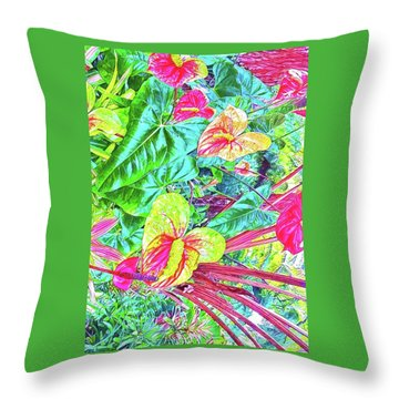 Anthuriums Pink And Turquoise Throw Pillow