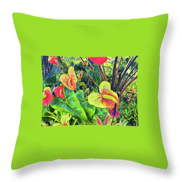 Anthuriums Yellow And Red Throw Pillow