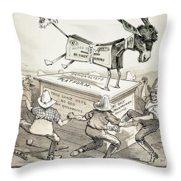 Anti-greenback Cartoon Throw Pillow by Granger