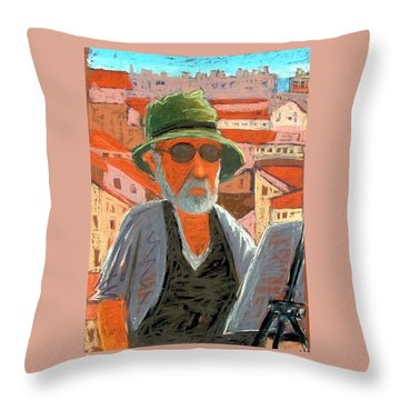 Throw Pillow featuring the painting Antibes Self by Gary Coleman