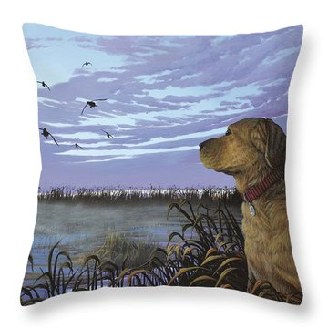 On Watch - Yellow Lab Throw Pillow