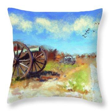 Throw Pillow featuring the digital art Antietam Under Blue Skies  by Lois Bryan