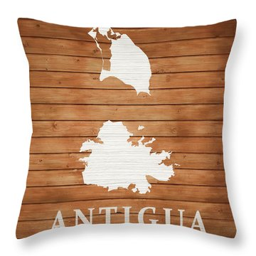 Antigua Rustic Map On Wood Throw Pillow