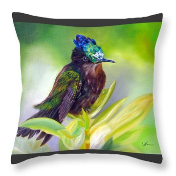 Antillean Crested Hummingbird Throw Pillow by LaVonne Hand