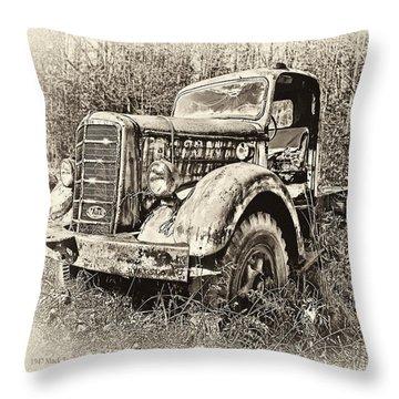 Antique 1947 Mack Truck Throw Pillow by Mark Allen