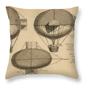 Antique Aeronautics Throw Pillow