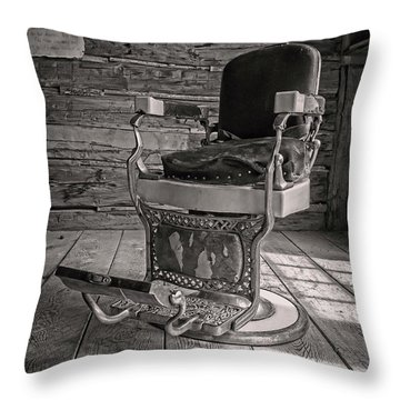 Throw Pillow featuring the photograph Antique Barber Chair by Scott Read