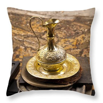 Antique Brass Pitcher Throw Pillow by Rae Tucker