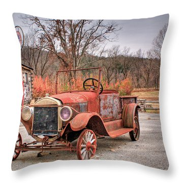 Antique Car And Filling Station 1 Throw Pillow by Douglas Barnett