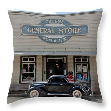 Antique Car At Gruene General Store Throw Pillow
