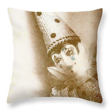 Antique Carnival Doll Throw Pillow