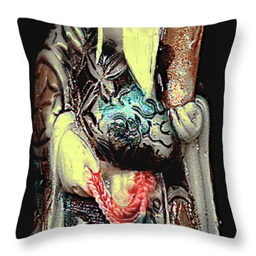 Antique Chinese Figurine - Man With Scroll Throw Pillow
