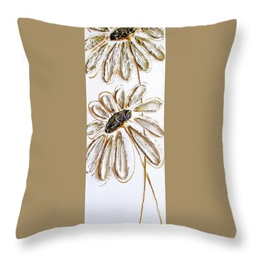 Antique Daisies Throw Pillow