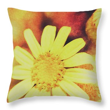 Antique Daisy Field Throw Pillow