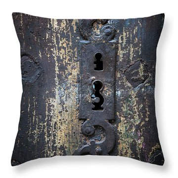 Throw Pillow featuring the photograph Antique Door Lock Detail by Elena Elisseeva