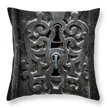 Throw Pillow featuring the photograph Antique Door Lock by Elena Elisseeva