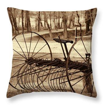 Antique Farm Rake In Sepia Throw Pillow