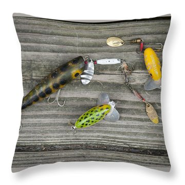 Antique Fishing Lures Throw Pillow