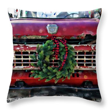Antique Ford Christmas Throw Pillow