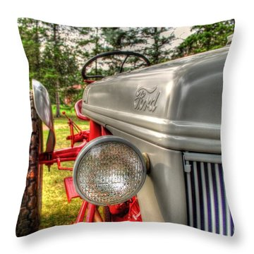 Antique Ford Tractor Throw Pillow by Michael Garyet