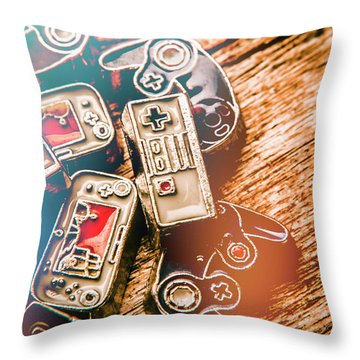 Antique Gaming Consoles Throw Pillow