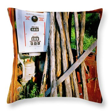 Throw Pillow featuring the photograph Antique Gas Pump by Linda Unger