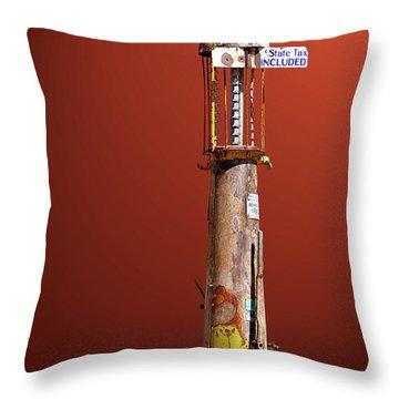 Antique Gas Pump Throw Pillow by Phyllis Denton