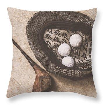 Antique Golfer Still Life Throw Pillow