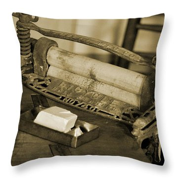 Antique Laundry Ringer And Handmade Lye Soap In Sepia Throw Pillow