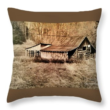Antique Log Beam Barn Southern Indiana Throw Pillow