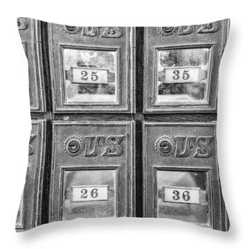 Antique Mailbox Black And White Throw Pillow