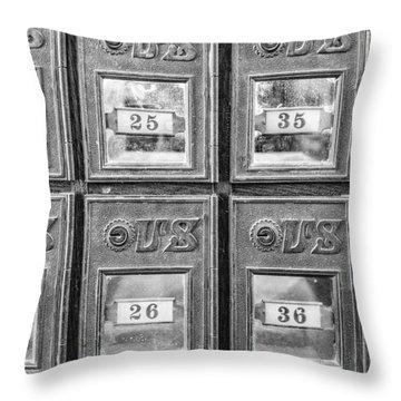 Antique Mailbox Black And White Throw Pillow