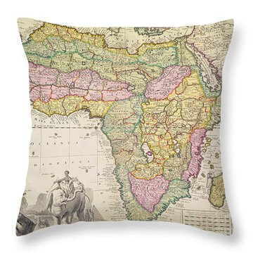 Antique Map Of Africa Throw Pillow by Pieter Schenk